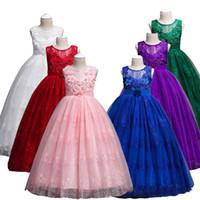 أزياء الفتيات الدانتيل فستان زفاف طويل كيد أنيقة الأميرة حزب مهرجان عيد الرسمية أكمام فساتين للمراهقين