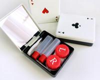 MOQ 100PCS tarjetas lindas de póker clubes corazones de diamantes Una caja de lentes de contacto para lentes caja de contenedor caja de lentes de contacto set de juego Poker A Type