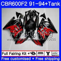 Cuerpo + tanque para HONDA CBR 600F2 CBR600FS CBR600F2 91 92 93 94 288HM.17 CBR 600 F2 FS CBR600 F2 Stock rojo blk 1991 1992 1993 1994 Kit de carenado