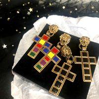 선물 파티 패션 쥬얼리 액세서리 빈티지 사자 머리 크로스 스터드 귀걸이 여성 에나멜 크로스 귀걸이