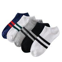 10pcs = 5pairs de los hombres de calcetines de algodón de la raya de los calcetines del barco Todo Estaciones Primavera Otoño Casual Male Harajuku de los hombres respirables del tobillo del calcetín Meias