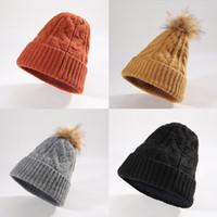 Wholesale-Women's winter knit hat fashion warm wild plus velvet cycling windproof autumn and winter couple wool cap