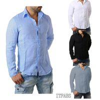 Lusso Miscela Mens Cotone Lino Maglie a manica lunga Uomini confortevole casuale formali misura sottile di colore solido parti superiori della camicia
