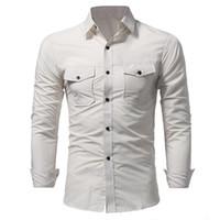 Высококачественный мужские 19 весна Повседневных Карманы Дизайнера однобортные Топы с длинными рукавами футболки