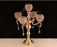 크리스탈 볼과 새로운 스타일 42cm 키 중앙, 결혼 테이블 best0926에 대한 크리스탈 꽃 centerpieces