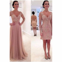 2019 New Dusty Pink Lace Hijab Evening Dresses with Detachable Skirt V Neck Long Sleeve Cheap Latest Gown Design Formal Prom Dressess