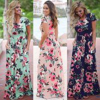 Moda-Kadınlar Çiçek Baskı Kısa Kollu Boho Elbise Akşam elbise Parti Uzun Maxi Elbise Yaz Sundress 10 adet OOA3238
