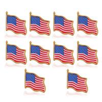 10 adet / grup Amerikan Bayrağı Yaka Pin Birleşik Devletleri ABD Şapka Kravat Tack Rozet Pimleri Mini Elbise Çanta Dekorasyon için Broşlar