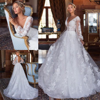 Graceful Beach Lace Backless Wedding Dresses Beaded V Neck L...