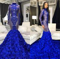 Noir brillant filles bleu sirène Robes de bal 2020 3D Fleurs Prom Robes Plus Size manches longues col haut robe de bal vestidos de fiesta