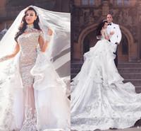 Luxuriöse Strass-Kristall-Hochhals-Perlen-Hochzeitskleid-Overkirt abnehmbarer Zug Meerjungfrau-Brautkleid Wunderschöne Dubai-Hochzeitskleid