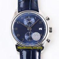 YLF Topversion Portugieser Chronograph Klassik 390303 Cal.89361 Automatische 28800 Uph Blau Dial Herrenuhr Sapphire Leder Stoppuhr Uhren