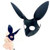 Косплей Lovely Slave Rabbit Mask Игры для взрослых БДСМ Бондаж Кожаные ограничения Открытая маска для глаз Для бал-маскарада Карнавальная вечеринка Секс-игрушки