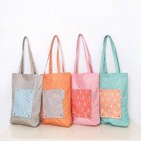 Moda Katlanabilir Öğrenci Çantaları Karikatür Baskılı Çantası Omuz Bez Çantalar Yeniden kullanılabilir Çevre Alışveriş Çantaları WY151Q