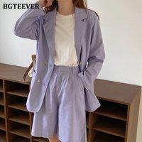 BGTEEVER Vintage Violet femmes Shorts Costumes Costume veste à manches longues demi-Shorts Femme Ensemble 2 pièces Pantalons Costume 2020 Summer