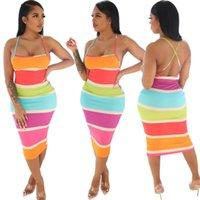 عارضة فساتين ميدي اللباس المرأة الصيف شاطئ فام الملابس رداء عارية الذراعين rainbow طباعة سيدة الأفريقية أنيقة أنيقة 2021