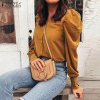 Plus Size Damen Bluse 2020 ZANZEA Female-Platz-Ausschnitt Puff Sleeve-Kittel Arbeitsfläsche Blusas Chemise Damenmode