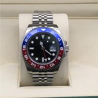 탑 남성 시계 자동 기계 시계 GMT 스테인레스 스틸 블루 레드 세라믹 사파이어 40mm 남자 시계 손목 시계