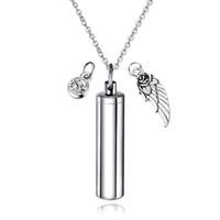 Cilindro Cilindro Mensaje secreto Vial Cremación Collar de urna de ceniza en acero inoxidable Stash Locket Wing and Crystal Dangle Necklace