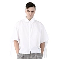 Punk White Smart Casual Shirts For Men Half Sleeve of Two St...
