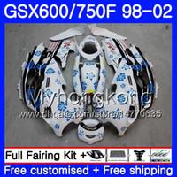 Body For SUZUKI GSXF 750 600 GSXF750 1998 1999 2000 2001 2002 292HM.53 GSX 600F 750F KATANA GSXF600 98 99 00 01 02 Fairing cowling hot white