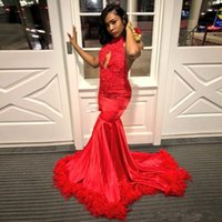 Stunning Red Prom Dresses with Feather Backless Halter Lace ...