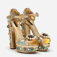 خمر نمط عالية منصة حجر الراين أحذية الزفاف الزفاف عالية الجودة الصنادل الصيف