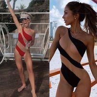 2020 Sexy Illusion Donne Swimwear Summer Swimwear One Spalla tute senza maniche Abbigliamento Senza persone Abiti da bagno Abiti da bagno Casual Abbigliamento Un pezzo Bikini