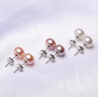 9MM Freshwater Pearl Stud Earrings 925 Silver Plated Jewelry...