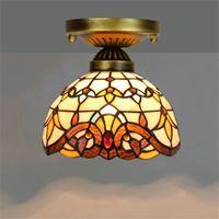 티파니 스테인드 매달려 유럽 복고풍 천장 조명 유리 통로 복도 발코니 작은 천장 빛 노란색 바로크 램프 TF014