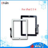Panneau en verre à écran tactile noir et blanc de bonne qualité avec des boutons de numériseur Adhésif pour iPad 2 3 4 Remplacements