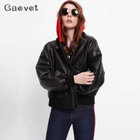 Gaovot hoodie pilot faux black women leather jacket ladies m...