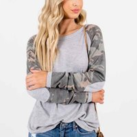 Womens Camouflage Designer Tshirts Autumn Crew Neck Long Sle...