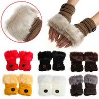 Mulheres Faux Fur Botão Luva Fingerless Thumb Hole Inverno Pulso De Malha Imitação furThick coelho Luva Mais Quente