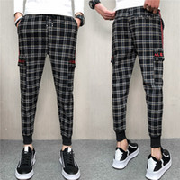 2019 spring and summer new men' s plaid nine pants fashi...