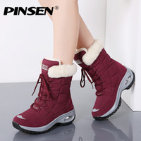 PINSEN Новая зима Женщины Boots Высокое качество Keep Warm середины икр снега сапоги Женщины Шнуровка Удобные женские ботинки Chaussures Femme T200104