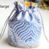 3 storlek tjock dragkedja bucket väska kinesisk silke smycken påse satin blommig tyg gåva väska runt botten förpackning väskor