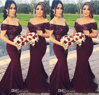 Off Shoulder Burgundy Bridesmaid Dresses Sequins African Cus...