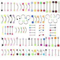 30 adet Karışık Renk Kaş Göbek Dudak Dil Burun Göbek Ring Barbel Bar Piercing Serin Cain