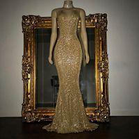 Altın Aplike Pullu Mermaid Gelinlik Modelleri 2019 Dantel Uzun Ucuz Kokteyl Parti Elbise Seksi Fermuar Geri Örgün Elbiseler Akşam Giyim