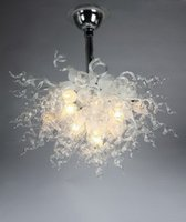 Soffiato creativo italiano Dale Chihuly Style Indoor Bianco Droplight Chandelier Lighting mano LED Light Murano Glass Chandelier per la casa