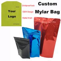 A prova di bambino serratura della chiusura lampo Borse di plastica trasparente Mylar Logo personalizzato Bag Stickers Label Candy Finestra regalo di rivestimento opaco Dry Bag Herb vaporizzatori Packaging