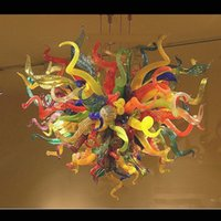 Toptan Kristal Avize LED Işık Kaynağı Otel Kapalı Sanat Dekoratif Dale El Cam İtalyan Murano Avize Üflemeli