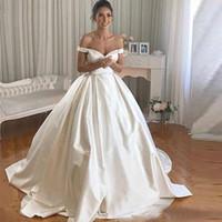 간단한 새틴 웨딩 드레스 어깨 볼 가운 신부 드레스 예배당 기차 웨딩 가운 버튼 Bestido de Noiva