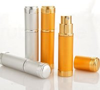 5ML alumínio Pulverizador transparente de perfume de vidro Garrafa de viagem frasco de spray portátil vazio recipiente cosmético com alumínio Pulverizador RRA965