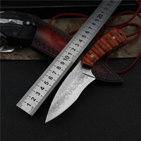 дамасской нож складной карманный нож охоты выживания автоматические прямые тактические ножи неподвижную лопасть открытый фиксированные деревянные ножи
