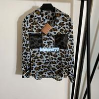 Yüksek Son Kadınlar Lüks Tasarım Vintage Leopar Kazak Bluzlar Shirt ile Rhinestone Cep Rahat Kızlar Pist Milan Suits Gömlek Tops