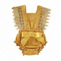 2020 Kız Bebek Rompers Yenidoğan Bebek Giyim Bebek Flare Kol Katı Dantel Tasarımcı Romper Tulum Nefes Tek Parçalar Onesie D62804