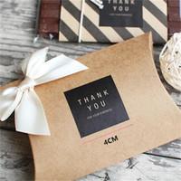 Etichetta ringraziamento rotonda quadrato nero di carta kraft di colore tenuta Incollare accessori per la cottura biscotto Borsa Sigillo adesivo decorativo confezionamento
