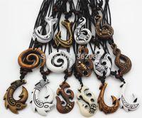 Heiß! 15 teile / los Gemischt Hawaiian Schmuck Nachahmung Knochen Geschnitzte Nz Maori Angelhaken Anhänger Halskette Halsband Amulett Geschenk Yn542 J190713